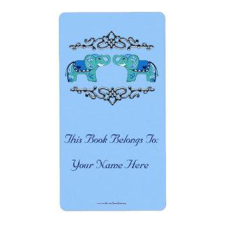Etiqueta Elefante do Henna (azul/luz - azul)