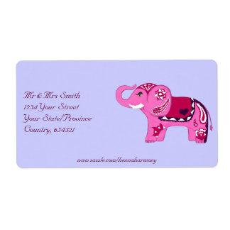 Etiqueta Elefante do Henna (rosa/roxo)