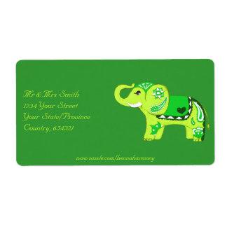 Etiqueta Elefante do Henna (verde/verde limão)