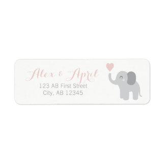 Etiqueta Elefante do retorno da menina do anúncio do