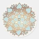 Etiqueta elegante da flor de Lotus do azul e do ou Adesivos Em Formato Redondos