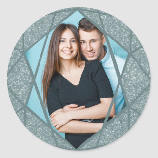 Etiqueta elegante da foto do design do diamante