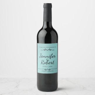 Etiqueta elegante do Aqua e do vinho do preto