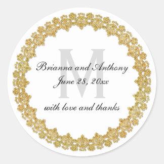 Etiqueta elegante do casamento do branco & do ouro