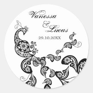 Etiqueta elegante do casamento do pavão floral