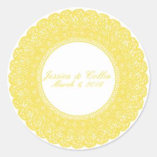 Etiqueta elegante do costume do laço do amarelo do adesivo