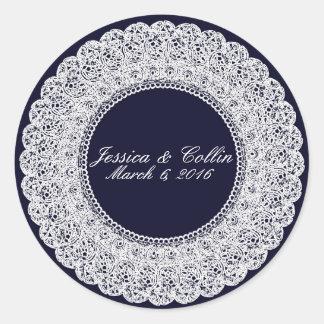Etiqueta elegante do costume do laço dos azuis adesivo