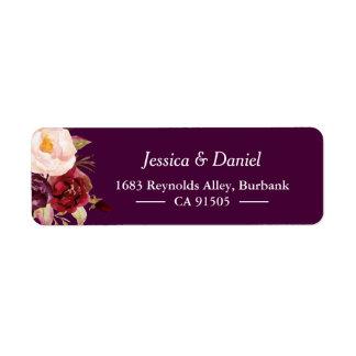 Etiqueta Elegante simples floral rústico roxo da ameixa