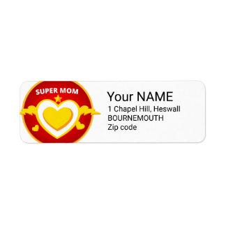 Etiqueta Emblema engraçado da mamã do flash do super-herói