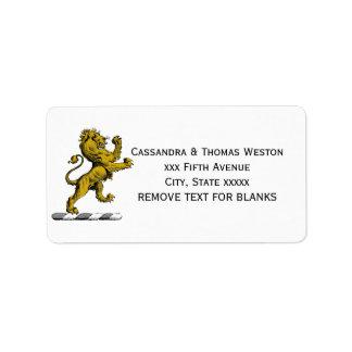 Etiqueta Emblema ereto C da crista do leão heráldico