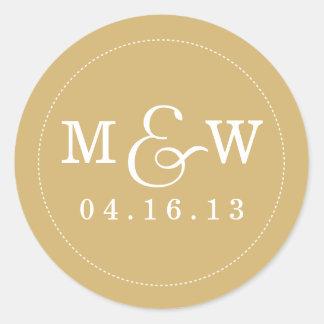 Etiqueta encantador do monograma do casamento -