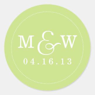 Etiqueta encantador do monograma do casamento - adesivo