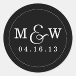 Etiqueta encantador do monograma do casamento - pr adesivos redondos