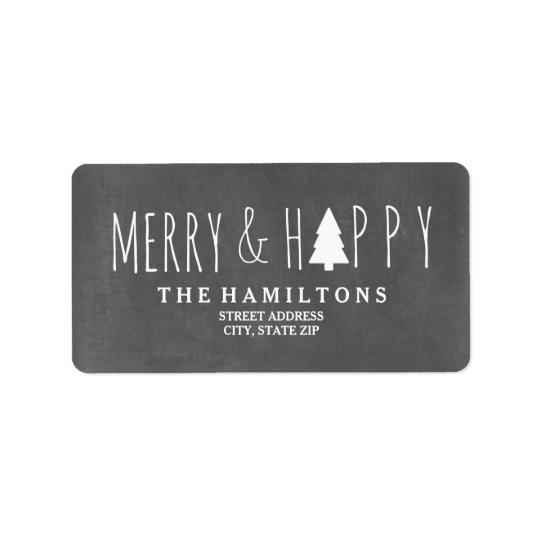 Etiqueta Endereço alegre & feliz da árvore de Natal do