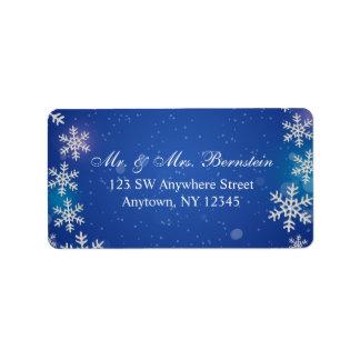 Etiqueta Endereço azul do inverno dos flocos de neve