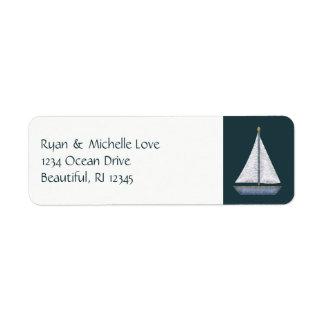 Etiqueta Endereço azul e branco do veleiro náutico