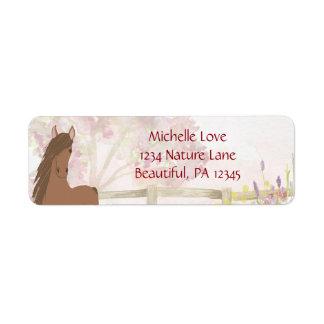 Etiqueta Endereço bonito do cavalo e das flores de Brown