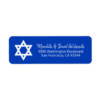 Etiqueta Endereço branco azul de Mitzvah do bar da estrela