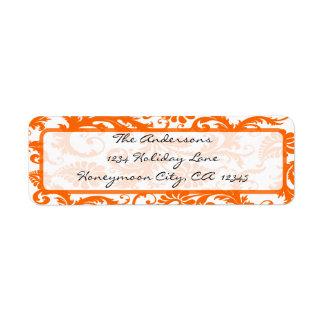 Etiqueta Endereço coral alaranjado da caligrafia do preto