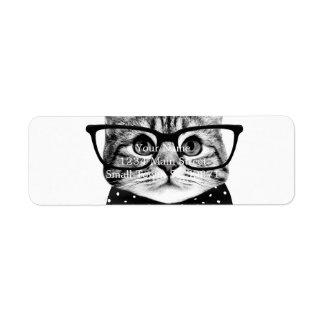 Etiqueta Endereço De Retorno laço do gato - gato dos vidros - gato de vidro
