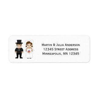 Etiqueta Endereço De Retorno Noiva & noivo - etiquetas de endereço