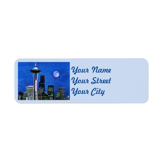 Etiqueta Endereço De Retorno Skyline azul de Seattle