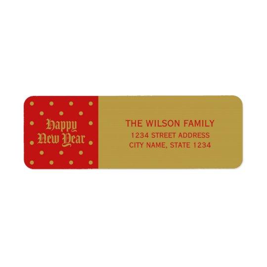 Etiqueta Endereço decorativo clássico vermelho do feliz ano