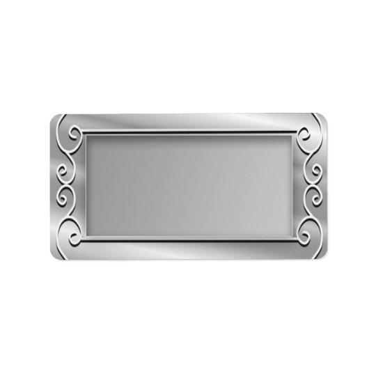 Etiqueta Endereço do remetente à moda do vazio da prata