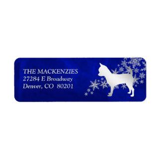 Etiqueta Endereço do remetente azul do cão da chihuahua do