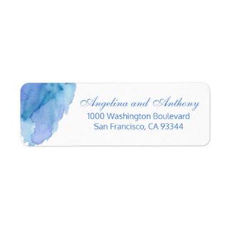 Etiqueta Endereço do remetente azul do casamento de praia