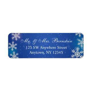 Etiqueta Endereço do remetente azul do inverno dos flocos