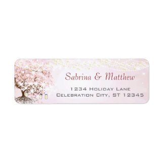 Etiqueta Endereço do remetente cor-de-rosa da árvore da