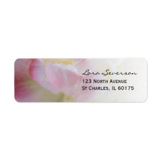 Etiqueta Endereço do remetente cor-de-rosa e branco da flor