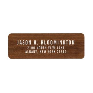 Etiqueta Endereço do remetente de madeira escuro da grão |