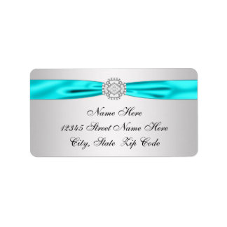 Etiqueta Endereço do remetente de prata azul do diamante da