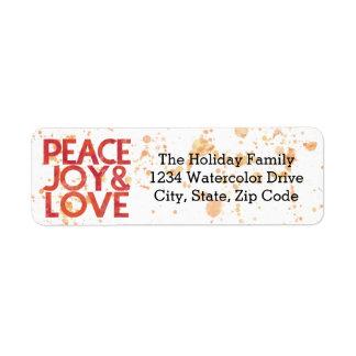 Etiqueta Endereço do remetente do feriado do Natal da paz