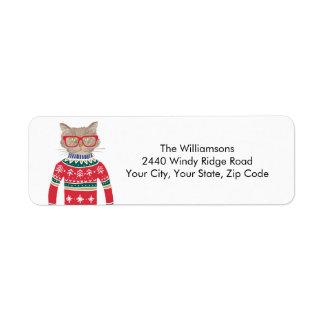 Etiqueta Endereço do remetente engraçado do gato da