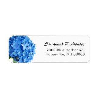 Etiqueta Endereço do remetente floral azul brilhante do