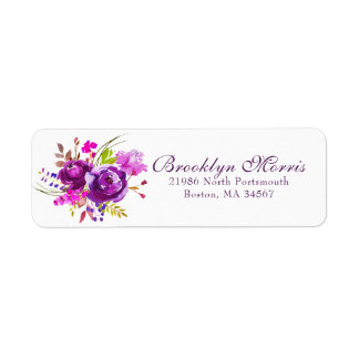 Etiqueta Endereço do remetente floral da aguarela roxa na