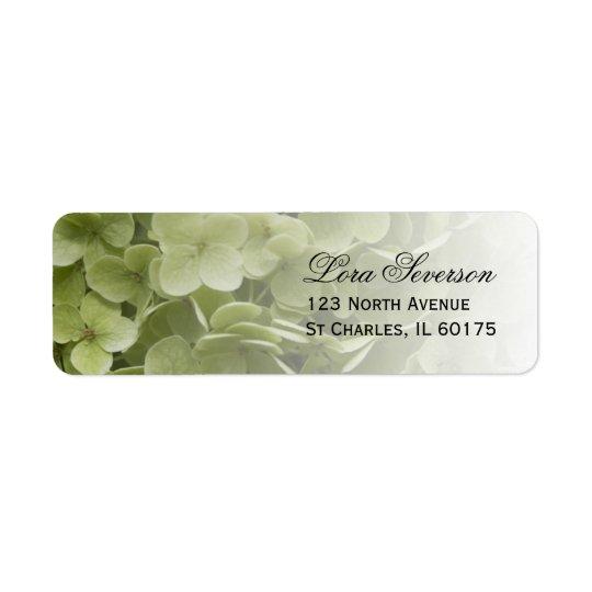 Etiqueta Endereço do remetente floral do Hydrangea verde de