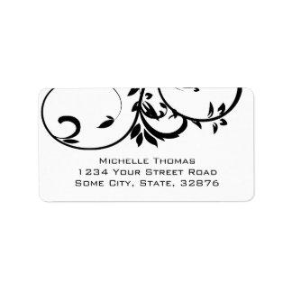 Etiqueta Endereço do remetente floral dobro preto e branco