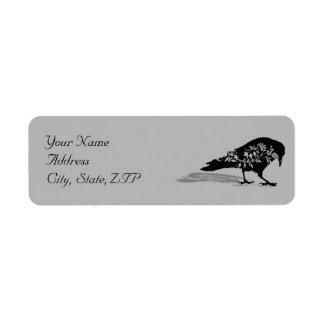 Etiqueta Endereço do remetente gótico do quadro do corvo
