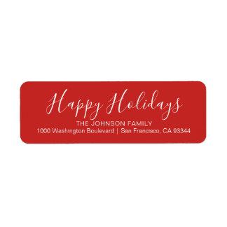 Etiqueta Endereço do remetente moderno do Natal do vermelho