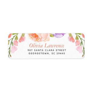 Etiqueta Endereço do remetente personalizado floral da