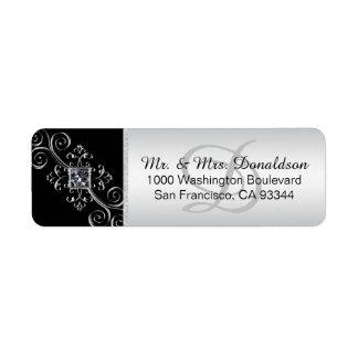 Etiqueta Endereço do remetente preto de prata do envelope