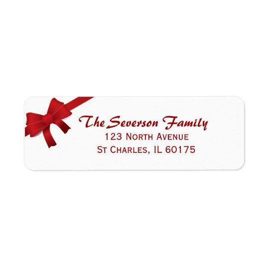 Etiqueta Endereço do remetente vermelho do feriado do Natal