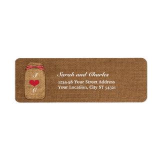 Etiqueta Endereço do remetente vermelho do frasco de