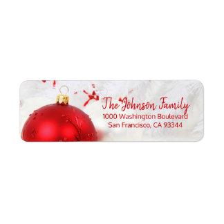 Etiqueta Endereço do remetente vermelho do Natal do feriado
