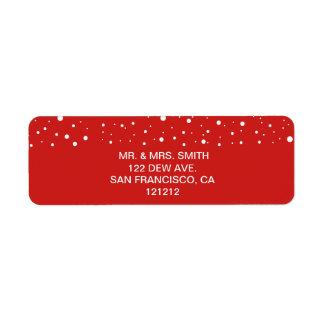 Etiqueta Endereço do remetente vermelho e branco festivo da