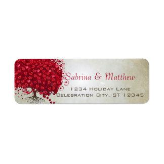 Etiqueta Endereço do remetente vermelho Wedding da árvore